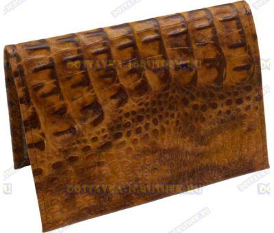 Обложка на паспорт 'Коричневый крокодил' нат.кожа.
