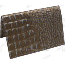 Обложка на паспорт 'Серебряный крокодил' нат.кожа.
