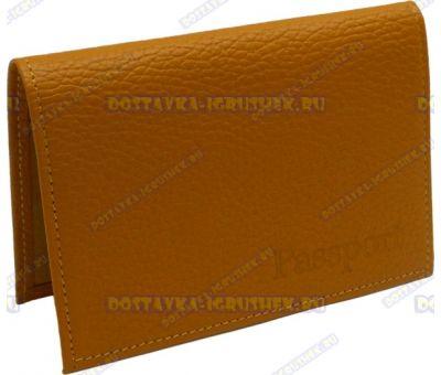 Обложка на паспорт 'Оранжевая' нат.кожа.