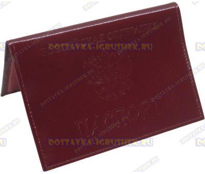 Обложка на паспорт 'ARORA' нат.кожа красная глянец.