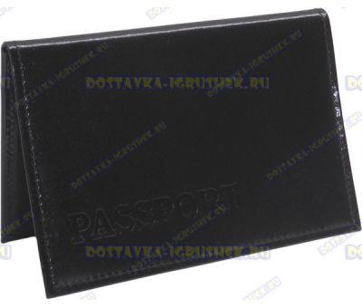 Обложка на паспорт 'ARORA Passport' нат.кожа черная глянец.
