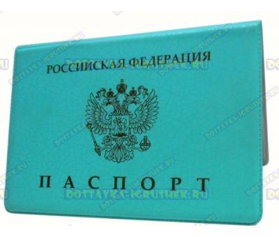Обложка на паспорт 'Эконом бирюза.сетка' пластик.
