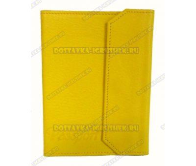 Обложка на паспорт с застёжкой 'Желтая' нат.кожа.