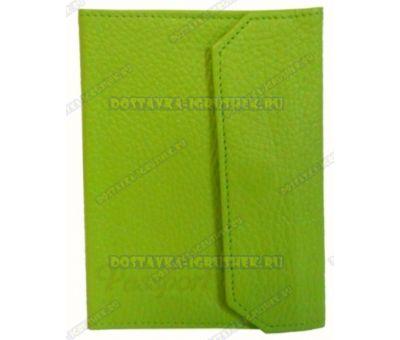 Обложка на паспорт с застёжкой 'Зелёная' нат.кожа.