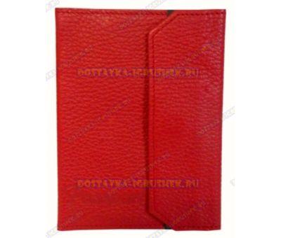 Обложка на паспорт с застёжкой 'Красная' нат.кожа.