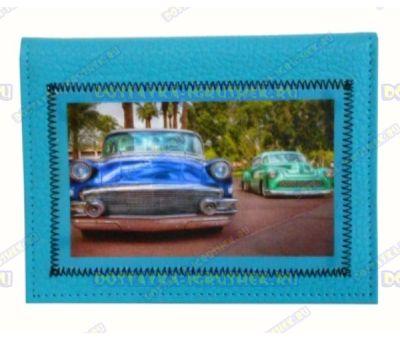 Обложка на автодокументы 'Ретро' синяя.нат.кожа.