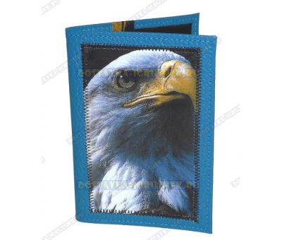 Обложка на паспорт с рисунком 'Орёл' синяя, нат.кожа.