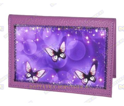 Обложка на паспорт с рисунком 'Бабочки' фиолетовая, нат.кожа.
