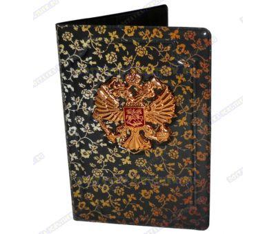Обложка на паспорт с орлом 'Золотые розы' пластик, металл,.