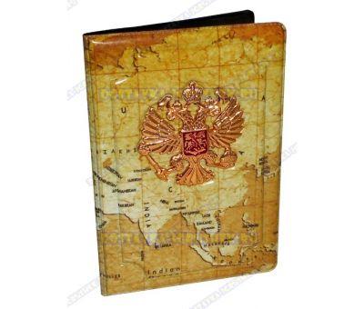 Обложка на паспорт с орлом 'Карта мира' пластик, металл,.