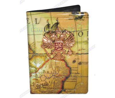 Обложка на паспорт с орлом 'Карта мира №1' пластик, металл,.