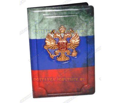 Обложка на паспорт с орлом 'Флаг' пластик, металл,.