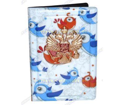 Обложка на паспорт с орлом 'Зимние птички' пластик, металл,.