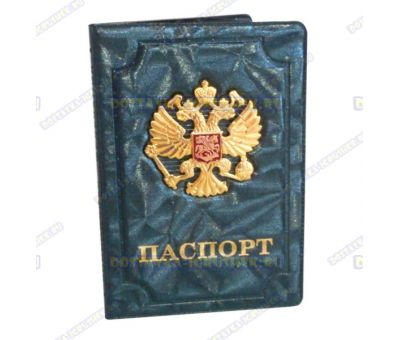 Обложка на паспорт 'Двуглавый орёл', искра, узор, зелен., пластик, металл.