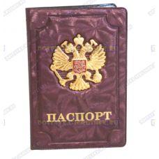 Обложка на паспорт 'Двуглавый орёл', искра, узор, бордо., пластик, металл.
