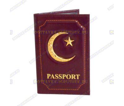 Обложка на паспорт 'Полумесяц', коричневая, кожа,металл.