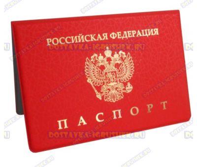 Обложка на паспорт 'Эконом красная' узор, сетка, пластик.