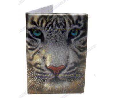 Обложка на паспорт 'Белый тигр', пластик.