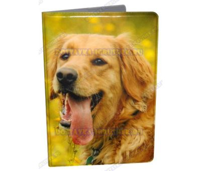 Обложка на паспорт 'Летний пес', пластик.