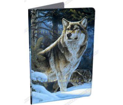 Обложка на паспорт 'Зимний волк', пластик.
