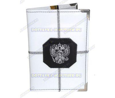 Обложка на паспорт прошитая 'Белая, черн.герб', нат. кожа, металл. уголок.