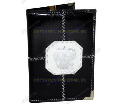 Обложка на паспорт прошитая 'Черная, бел.герб', нат. кожа, металл. уголок.
