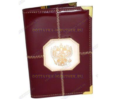 Обложка на паспорт прошитая 'Бордовая, бел.герб', нат. кожа, металл. уголок.