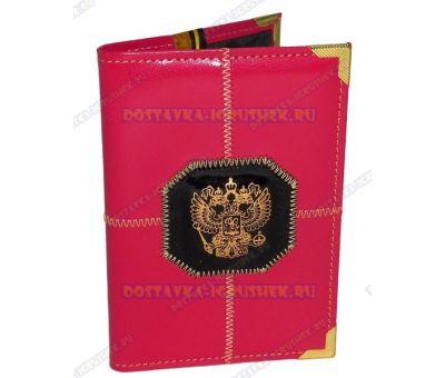 Обложка на паспорт прошитая 'Малиновая, черн.герб', нат. кожа, металл. уголок.