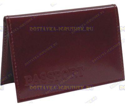 Обложка на паспорт 'ARORA Passport' нат.кожа бордовая глянец.