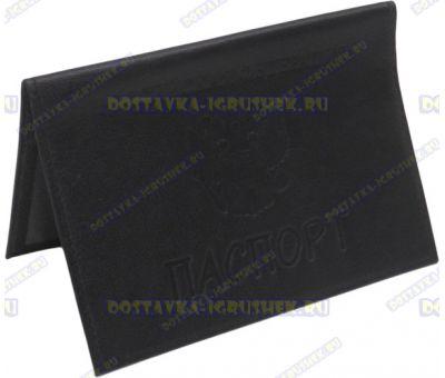 Обложка на паспорт 'ARORA' нат.кожа черная матовая.