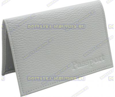 Обложка на паспорт 'Белая' рельефная, нат.кожа.
