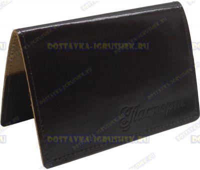 Обложка на паспорт 'КОЖА коричневая' нат.кожа.
