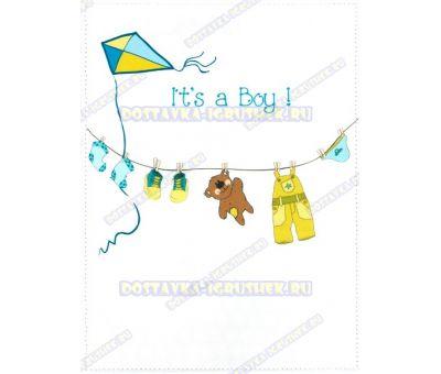 Обложка 'Свидетельство о рождении 192х263, It's a boy!' возд. змей. текстиль, пластик.