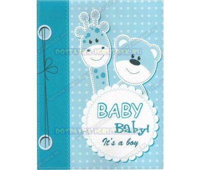 Обложка 'Свидетельство о рождении 192х263, It's a boy!' жираф,мишка. текстиль, пластик.