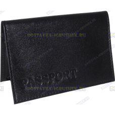 Обложка 'ARORA Passport' нат.кожа черная матовая.