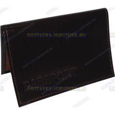 Обложка 'ARORA Passport' нат.кожа коричневая, глянец.
