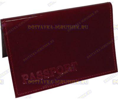 Обложка 'ARORA Passport' нат.кожа бордовая, глянец.