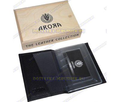 """Обложка на автодокументы """"ARORA"""" кожа, ручн. работа, подарочн. упаковка"""