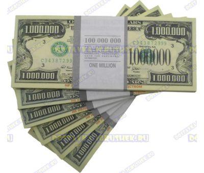 Деньги банка приколов 1 000 000 долларов. (пачка)