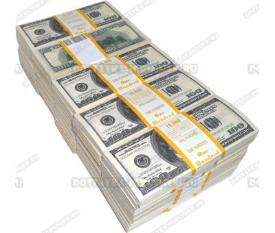 Деньги банка приколов 100 долларов. (50 пачек)