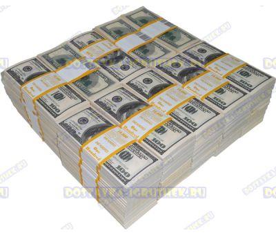 Деньги банка приколов 100 долларов. (100 пачек)