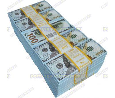 Деньги банка приколов 100 долларов НОВОГО образца. (50 пачек)
