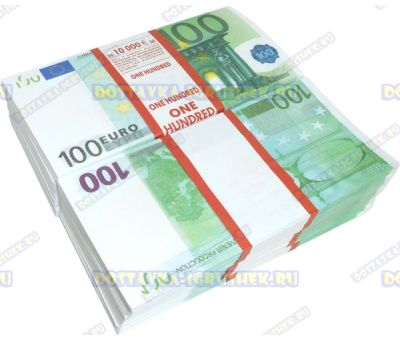 Деньги банка приколов 100 евро. (10 пачек)