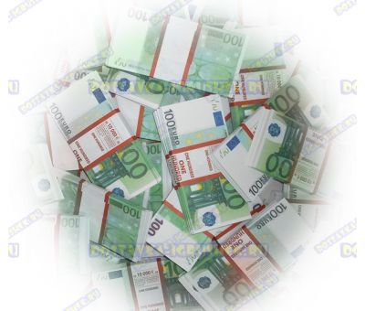 Деньги банка приколов 100 евро. (100 пачек)