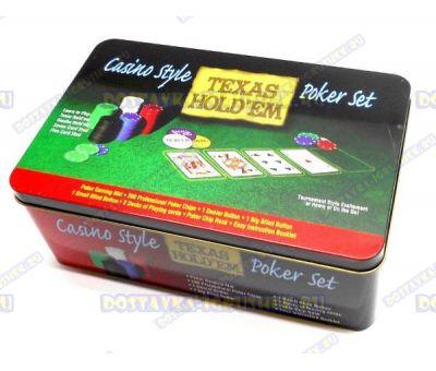 Покерный набор 200 фишек +2 колоды и сукно. Железная коробка.