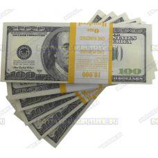 Деньги банка приколов 100 долларов. (пачка)