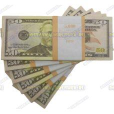 Деньги банка приколов 50 долларов. (пачка)