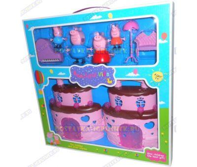 Домик свинки Пеппы 'Торт'+мебель и 4 фигурки.