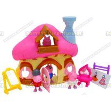 Грибной домик Пеппы. +4 фигурки, зеркала, вешалка и платья.