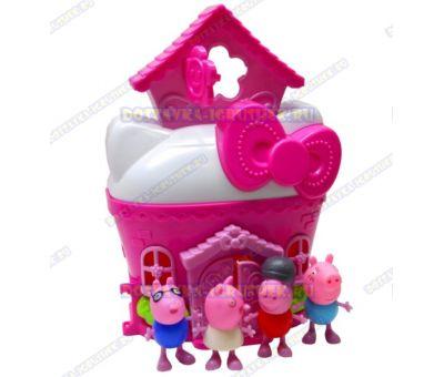 Розовый домик свинки Пеппы. +4 фигурки.